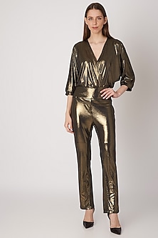 Gold Metallic Draped Bodysuit by Priyanka Gangwal