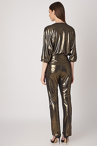 Gold Metallic Straight Fit Trousers by Priyanka Gangwal