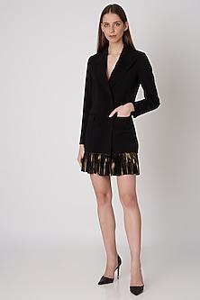 Black Double Breasted Blazer Dress by Priyanka Gangwal