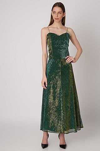 Emerald Green A-Line Skirt by Priyanka Gangwal