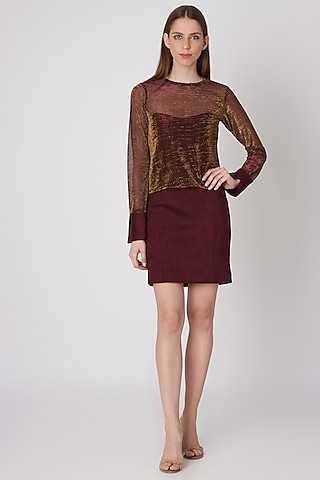 Wine Shimmery T-Shirt With Tube Dress by Priyanka Gangwal