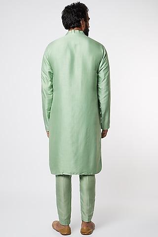 Green Cotton Silk Kurta Set by Prathyusha Garimella Men