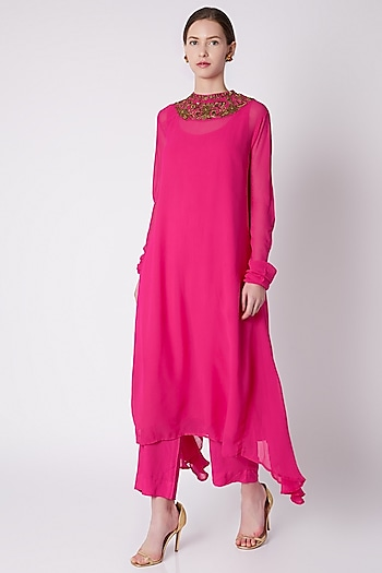 Fuchsia Pink Embroidered Tunic With Pants & Slip by Payal Goenka