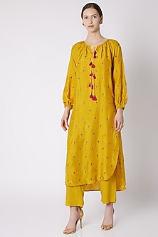 Yellow High-Low Embroidered & Printed Tunic With Pants by Payal Goenka
