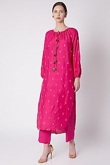 Red High-Low Embroidered & Printed Tunic With Pants by Payal Goenka