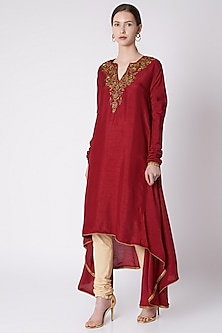 Red High-Low Embroidered & Printed Tunic With Churidar Pants by Payal Goenka
