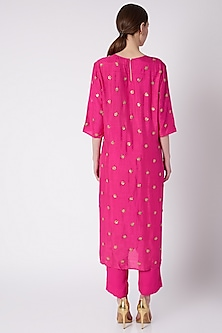 Fuchsia Pink Embroidered Kurta With Pants by Payal Goenka