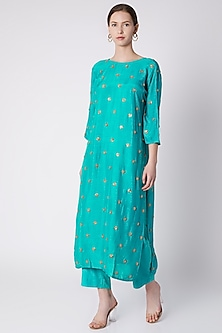 Firozi Blue Embroidered Kurta With Pants by Payal Goenka