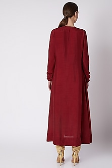Red Embroidered Kurta With Churidar Pants by Payal Goenka