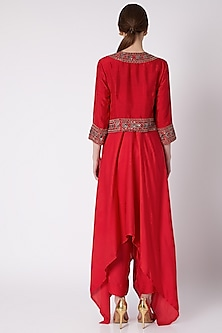 Red Embroidered Jacket With Spaghetti Dress & Pants by Payal Goenka