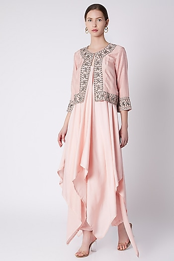 Powder Pink Embroidered Printed Jacket With Spaghetti Dress & Pants by Payal Goenka