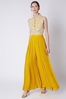 Yellow Embroidered Blouse With Culotte Pants by Payal Goenka