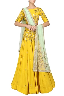 Mustard Yellow Embroidered Lehenga Set by Prathyusha Garimella