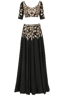 Black Embroidered Lehenga Set by Prathyusha Garimella