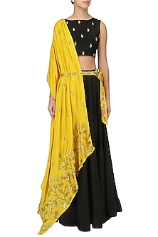 Mustard Yellow Embroidered Drape Lehenga Set by Prathyusha Garimella