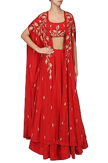 Red Lehenga and Embroidered Cape Set by Prathyusha Garimella