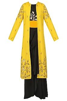 Black Embroidered Crop and Drape Skirt with Jacket Set by Prathyusha Garimella