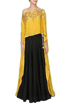 Mustard Embroidered Cape and Skirt Set by Prathyusha Garimella
