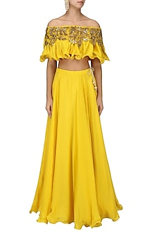 Mustard Yellow Off Shoulder Embroidered Top with Lehenga Set by Prathyusha Garimella-SHOP BY STYLE