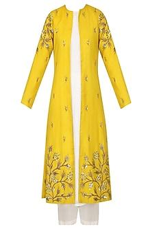 Mustard Embroidered Jacket With White Kurta and Palazzo Set by Prathyusha Garimella