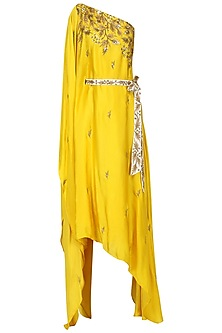 Mustard Embroidered Asymmetric Kaftan Dress by Prathyusha Garimella