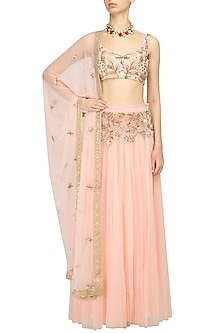 Pink Floral Embroidered Blouse and Lehenga Set by Prathyusha Garimella