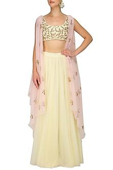 Pale Yellow and Pink Cowl Drape Blouse with Lehenga Skirt by Prathyusha Garimella