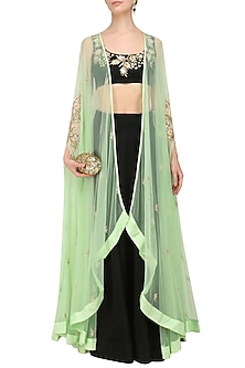 Mint Green Embroidered Cape with Black Crop Top and Lehenga Skirt by Prathyusha Garimella