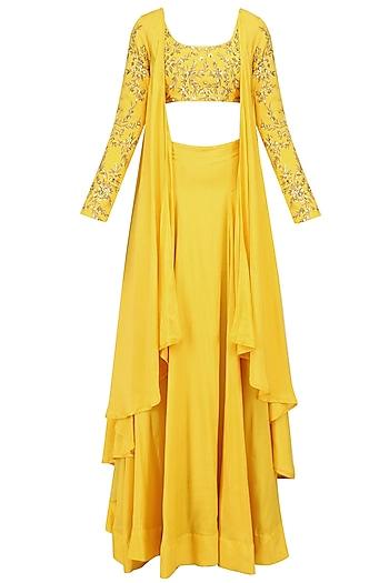 Mustard Yellow Embroidered Drape Crop Top and Lehenga Skirt Set by Prathyusha Garimella
