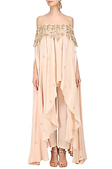 Blush Pink Cutwork Off Shoulder High Low Top with Palazzo Pants by Prathyusha Garimella