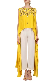 Mustard Yellow Embroidered High Low Top with White Palazzo Pants by Prathyusha Garimella