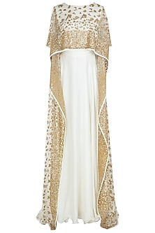 Off White Embellished High Low Cape Blouse with Skirt by Prathyusha Garimella
