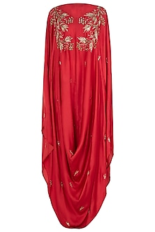 Red Embellished Cowl Cape with White Palazzo Pants by Prathyusha Garimella