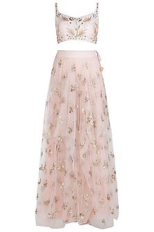 Pink Embellished Crop Top with Waterfall Skirt by Prathyusha Garimella
