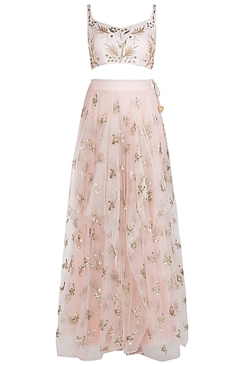 Pink Embellished Crop Top with Waterfall Skirt by Prathyusha Garimella