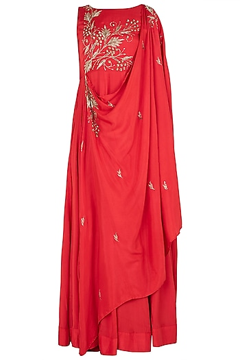 Red Embellished Cape Dress by Prathyusha Garimella