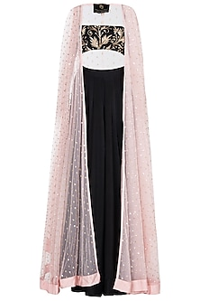 Pink Sequin Embellished Cape with Black Bralet and Skirt by Prathyusha Garimella