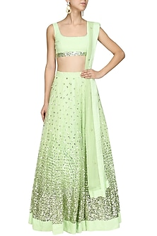 Mint Green Sequins Embroidered Lehenga Set by Prathyusha Garimella