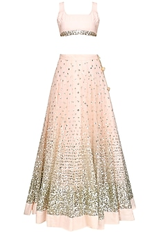 Blush Pink Sequins Embroidered Lehenga Set by Prathyusha Garimella
