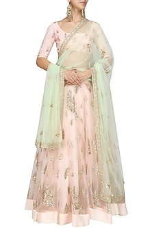 Pink Sequins Embroidered Lehenga and Mint Green Dupatta Set by Prathyusha Garimella