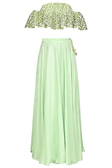 Mint Green Embroidered Cold Shoulder Top and Lehenga Set by Prathyusha Garimella