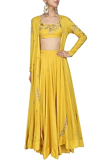 Mustard Embroidered Jacket and Lehenga Set by Prathyusha Garimella