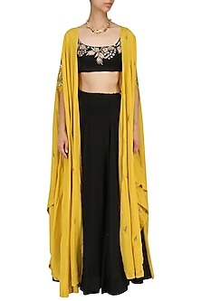 Black Lehenga and Mustard Cape Set by Prathyusha Garimella