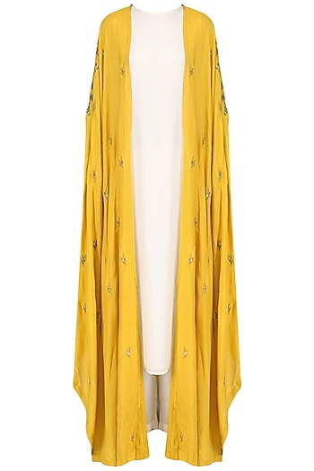 Mustard Embroidered Cape with  Kurta and Palazzo Set by Prathyusha Garimella
