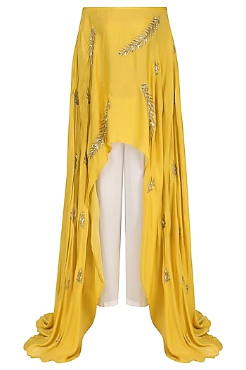 Mustard Embroidered Off Shoulder Cape and Pants Set by Prathyusha Garimella