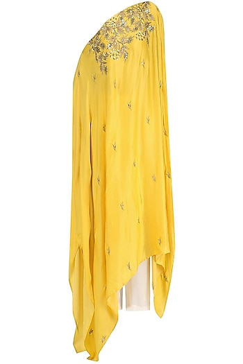 Mustard Embroidered Asymmetrical Top and Palazzo Set by Prathyusha Garimella