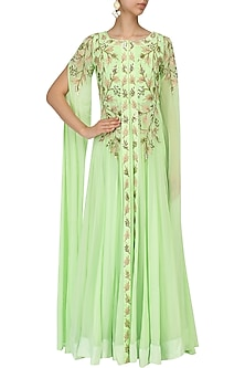 Mint Green Embroidered Anarkali Jacket and Gown by Prathyusha Garimella