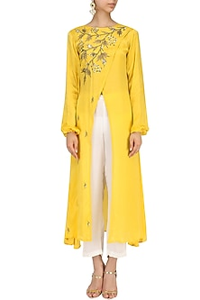 Mustard Embroidered Overlapping Kurta and Palazzo Set by Prathyusha Garimella