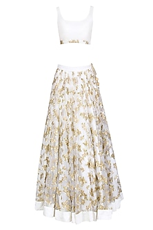 Off White and Gold Floral Embroidered Lehenga Set by Prathyusha Garimella