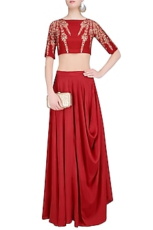 Red Embroidered Crop Top and Cowl Skirt Set by Prathyusha Garimella